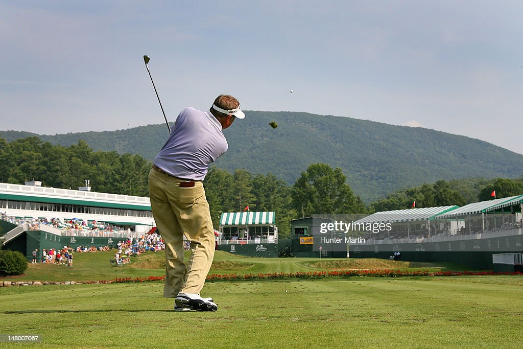 Ken Duke hits his tee shot on the hole during the third round of the Greenbrier Classic at the Old White 18th TPC on July 7, 2012 in White Sulphur Springs, West Virginia.