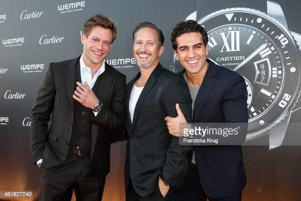 July 02: Ken Duken, Elyas M'Barek and Benno Fuermann attend the Cartier & Wempe Host League of Gentlemen on July 02, 2014 in Hamburg, Germany.