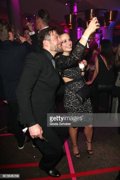 Ken Duken Susan Sideropoulos take a selfie during the BUNTE BMW Festival Night 2018 on the occasion of the 68th Berlinale International Film Festival...