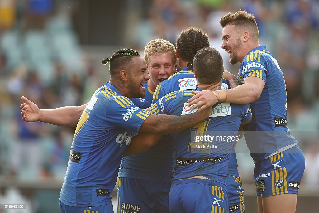 Ken Edwards, Daniel Alvaro, Brad Takairangi, Michael Gordon and Clint Gutherson of the Eels celebrate Brad Takairangi scoring a try during the round six NRL match between the Parramatta Eels and the Canberra Raiders at Pirtek Stadium on April 9, 2016 in Sydney, Australia.