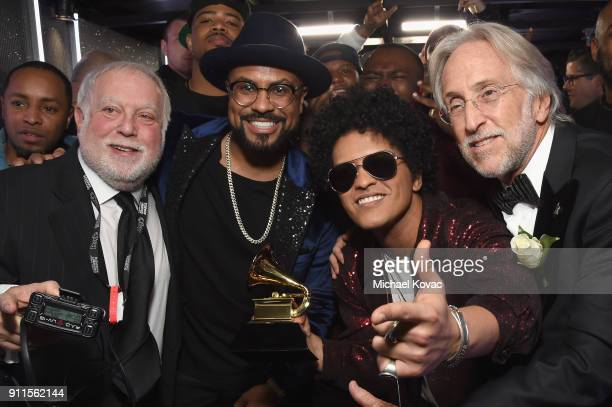 Ken Ehrlich Philip Lawrence Bruno Mars and Neil Portnow pose backstage at the 60th Annual GRAMMY Awards at Madison Square Garden on January 28 2018...