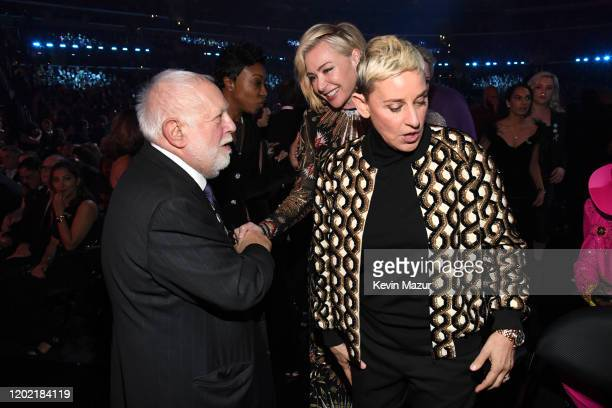Ken Ehrlich producer for The Grammys Ellen DeGeneres and Portia de Rossi during the 62nd Annual GRAMMY Awards at STAPLES Center on January 26 2020 in...