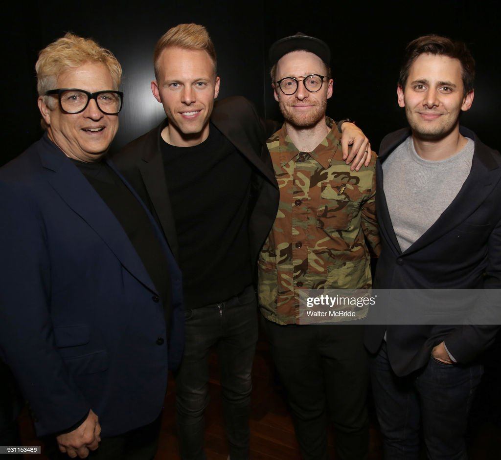 Ken Fallin, Justin Paul, Matt Gould and Benj Pasek attends The Dramatists Guild Foundation Salon with Matt Gould on March 12, 2018 at StellarTower in New York City.