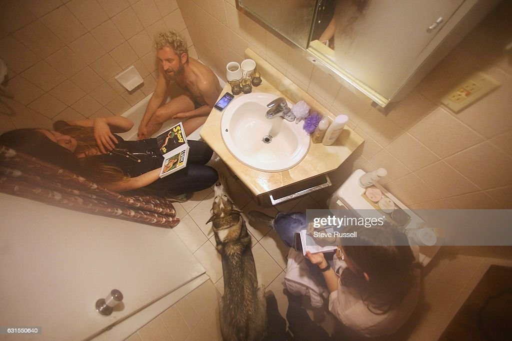 TORONTO, ON  JANUARY 10   Ken Ferguson Has A Bath In The Tiny Basement