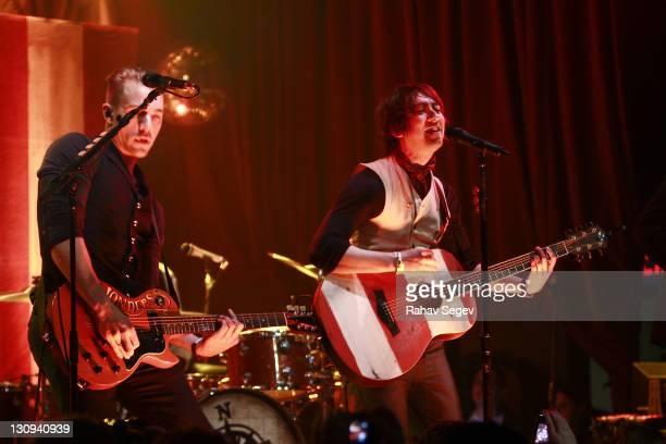Ken Fletcher and Tom Higgenson of Plain White T's perform at Highline Ballroom on February 22 2011 in New York City