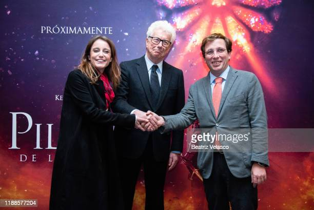 Ken Follet Andrea Levy and José Luis Martínez Almeida attend the final lecture of The Pillars of the Earth on November 18 2019 in Madrid Spain
