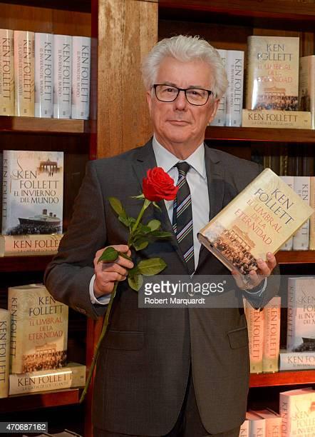 Ken Follett attends a press presentation for Sant Jordi's day on April 22 2015 in Barcelona Spain