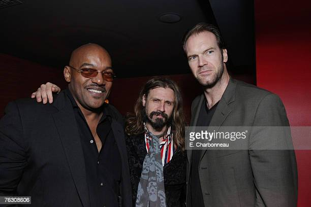 Ken Foree writer/director Rob Zombie and Tyler Mane at the world premiere after party of 'Halloween' at the Geisha House on August 23 2007 in...
