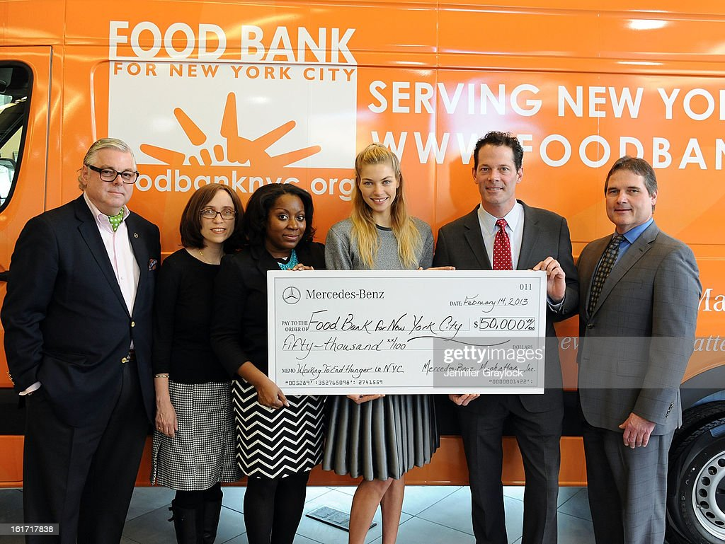 Ken Fox, CDO Food Bank for New York City Alyssa Herman, CEO and President Food Bank for New York City Margarette Purvis, Model Jessica Hart, General Manager Mercedes-Benz Manhattan Blair Creed and guest unveils the Food Bank For New York City's Sprinter Van Donated By Mercedes-Benz Manhattan at the Mercedes-Benz 11th avenue on February 14, 2013 in New York City.