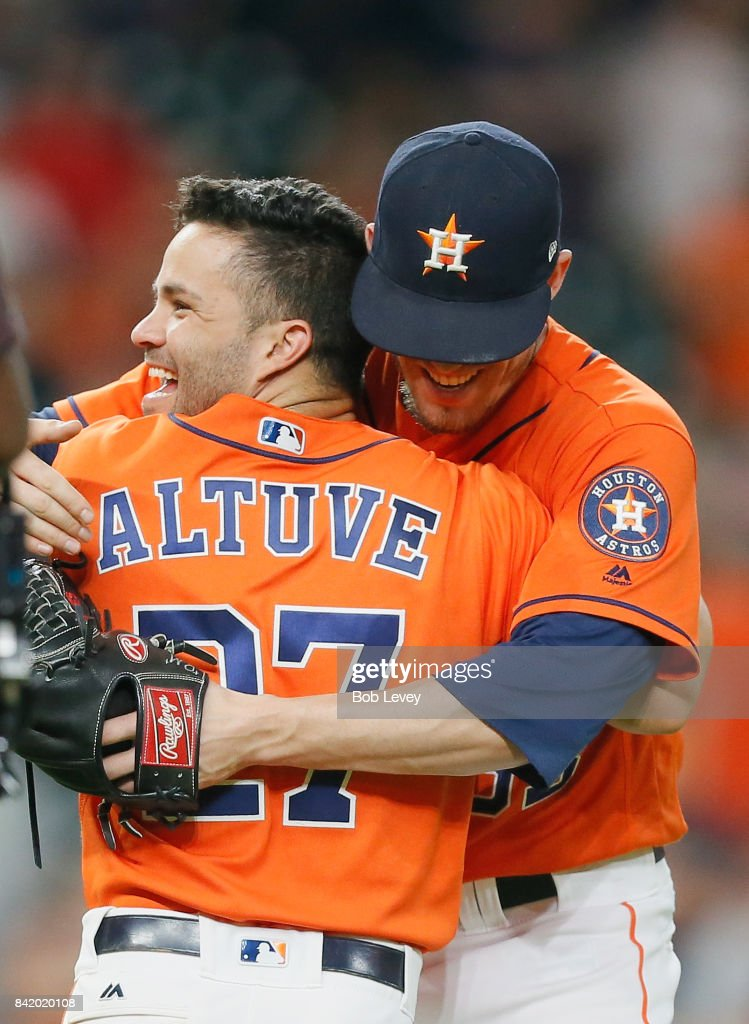 Ken Giles #53 of the Houston Astros celebrates with Jose Altuve #27 after the final out against the New York Mets in game two of the double-header at Minute Maid Park on September 2, 2017 in Houston, Texas. Houston won 4-1.