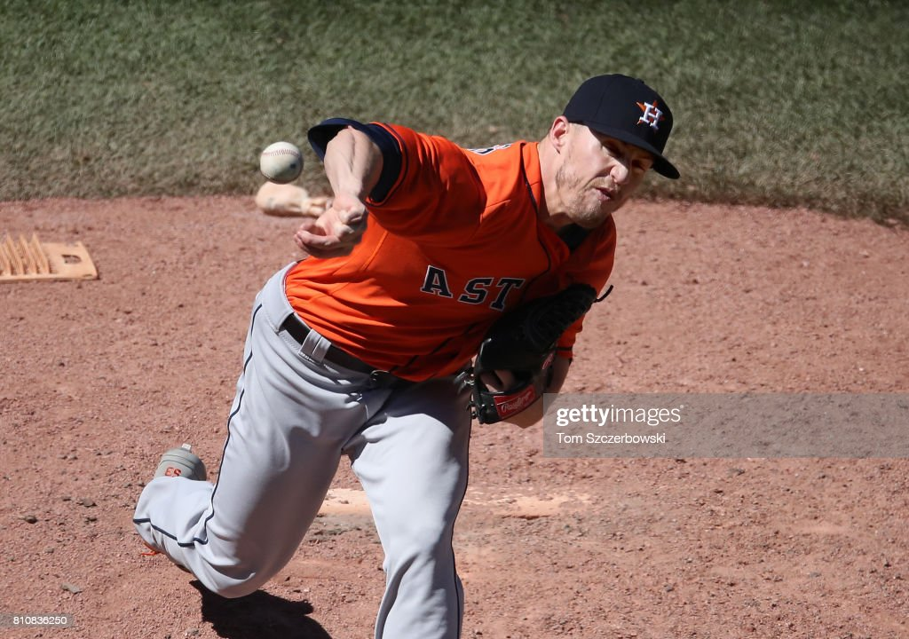Ken Giles #53 of the Houston Astros delivers a pitch in the eighth inning during MLB game action against the Toronto Blue Jays at Rogers Centre on July 8, 2017 in Toronto, Canada.