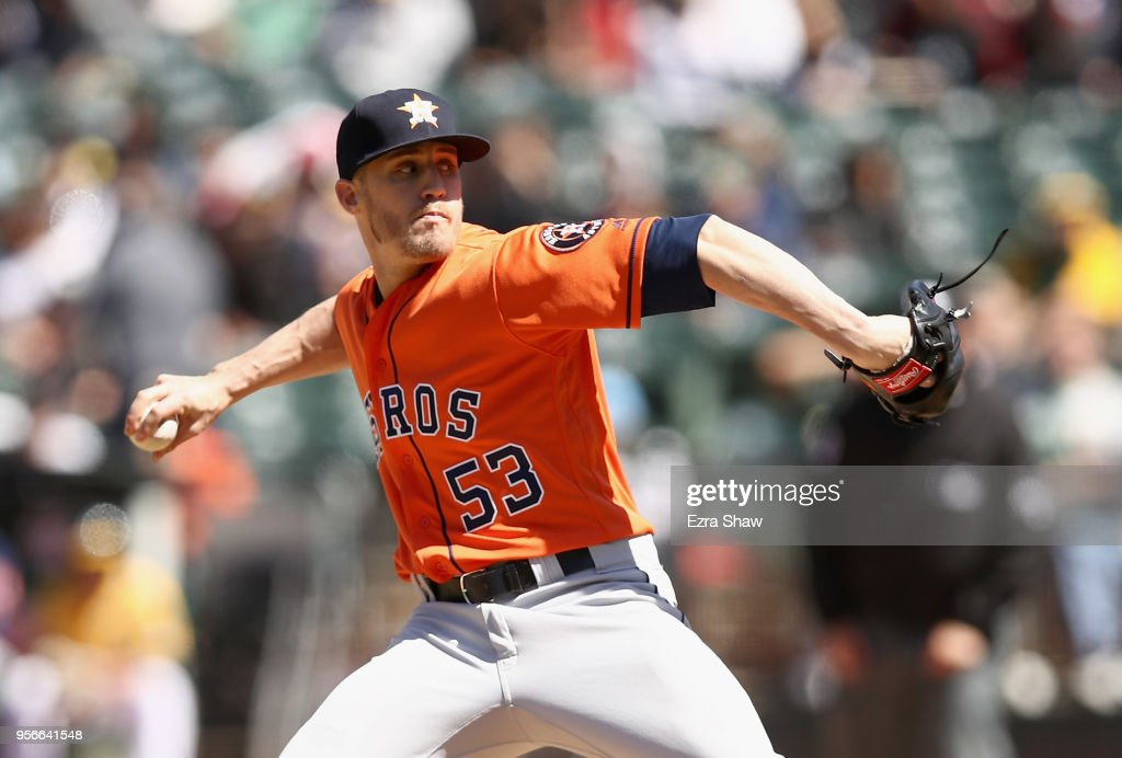 Ken Giles #53 of the Houston Astros pitches against the Oakland Athletics in the ninth inning at Oakland Alameda Coliseum on May 9, 2018 in Oakland, California.