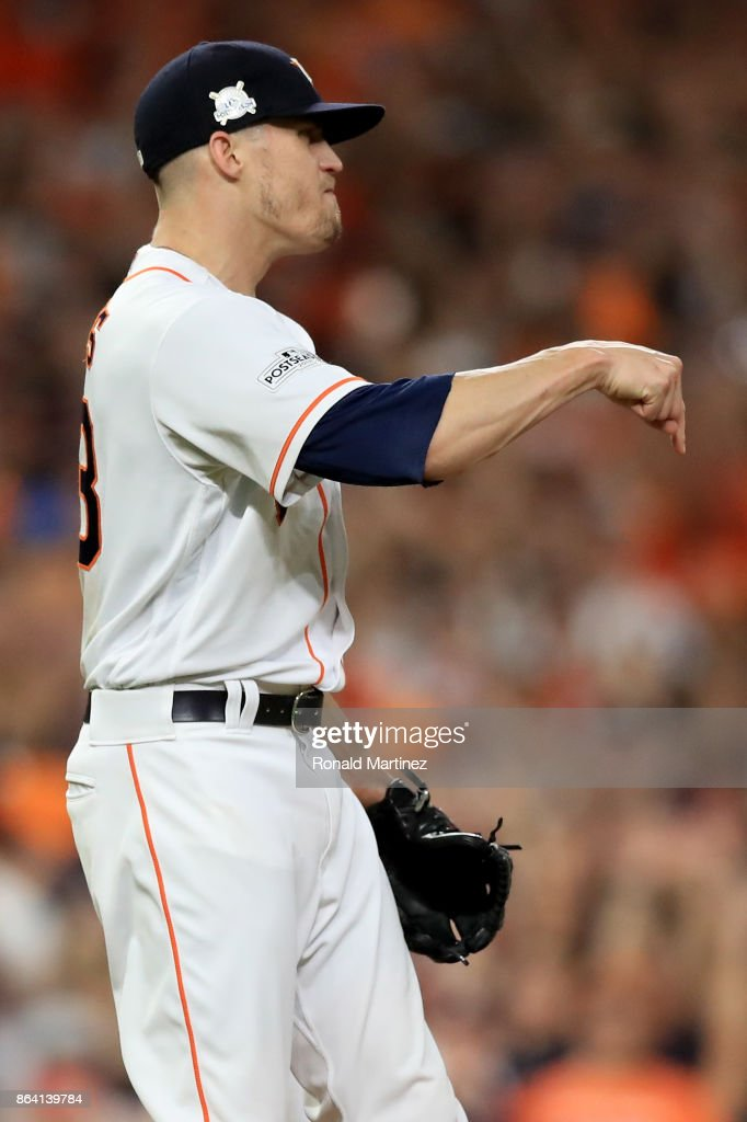 Ken Giles #53 of the Houston Astros reacts after closing out the inning to defeat the New York Yankees with a score of 7 to 1 in Game Six of the American League Championship Series at Minute Maid Park on October 20, 2017 in Houston, Texas.