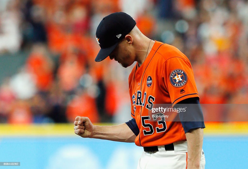 Ken Giles #53 of the Houston Astros reacts after defeating the Boston Red Sox 8-2 in game two of the American League Division Series at Minute Maid Park on October 6, 2017 in Houston, Texas.