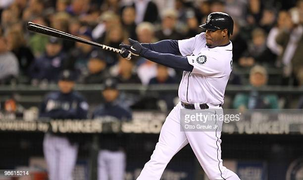 Ken Griffey Jr #24 of the Seattle Mariners bats against the Baltimore Orioles at Safeco Field on April 20 2010 in Seattle Washington