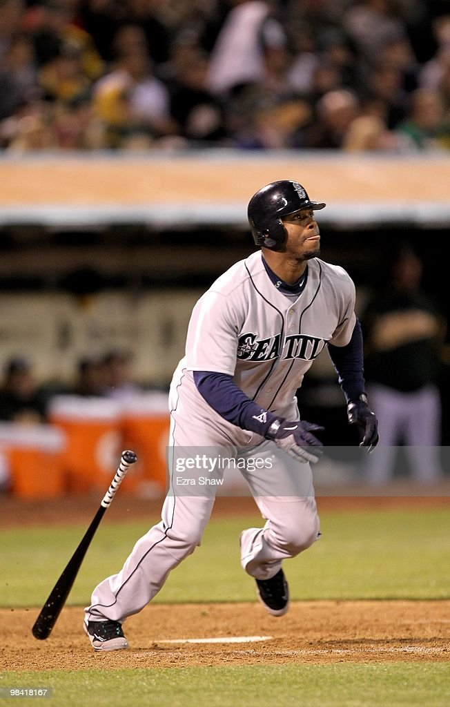 2cd3c7bba3 Ken Griffey Jr. #24 of the Seattle Mariners bats against the Oakland ...