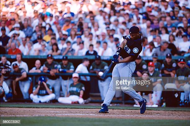 Ken Griffey Jr #24 of the Seattle Mariners bats during the 69th Major League Baseball AllStar Game Home Run Derby at Coors Field Denver Colorado on...