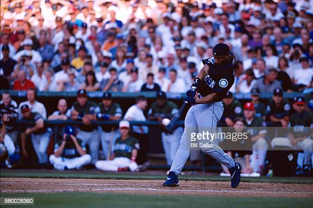 Ken Griffey Jr. #24 of the Seattle Mariners bats during the 69th Major League Baseball All-Star Game Home Run Derby at Coors Field, Denver, Colorado...
