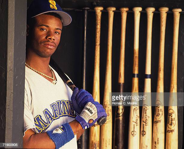 Ken Griffey Jr #24 of the Seattle Mariners in the dugout before a game against the Baltimore Orioles at Memorial Stadium