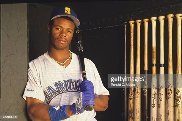 Ken Griffey Jr #24 of the Seattle Mariners in the dugout during batting practice prior to a game against the Baltimore Orioles on April 27 1990 in...