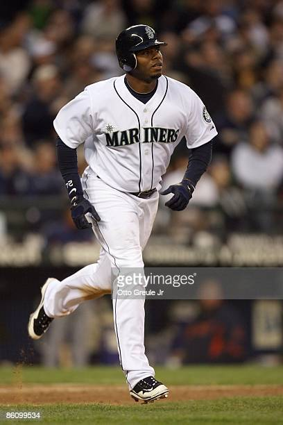Ken Griffey Jr. #24 of the Seattle Mariners runs to first against the Detroit Tigers during the game on April 18, 2009 at Safeco Field in Seattle,...