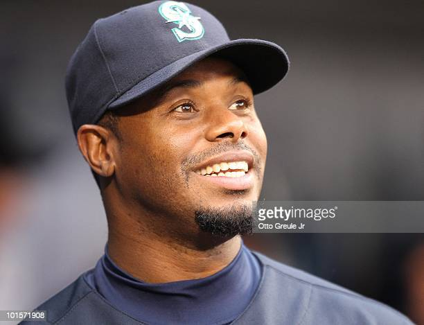 Ken Griffey Jr #24 of the Seattle Mariners smiles in the dugout prior to the game against the Texas Rangers at Safeco Field on April 30 2010 in...