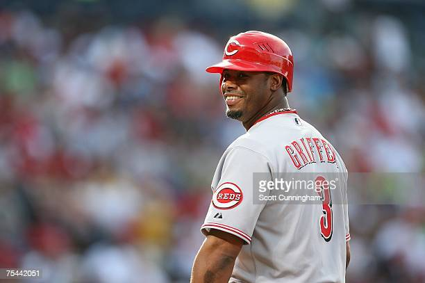 Ken Griffey Jr #3 of the Cincinnati Reds smiles during the game against the Atlanta Braves at Turner Field July 16 2007 in Atlanta Georgia The Reds...