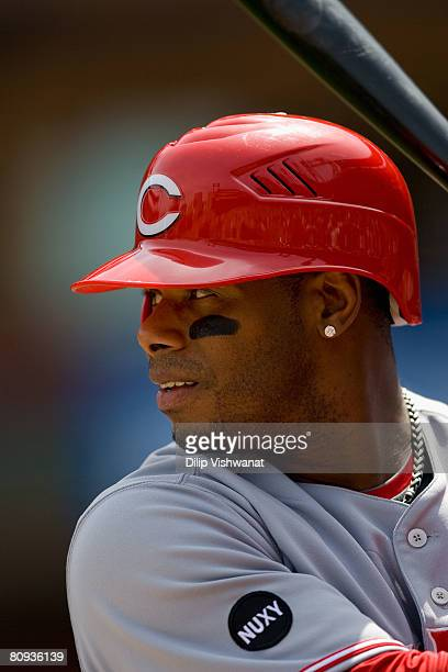 Ken Griffey Jr #3 of the Cincinnati Reds waits on deck against the St Louis Cardinals on April 30 2008 at Busch Stadium in St Louis Missouri The...