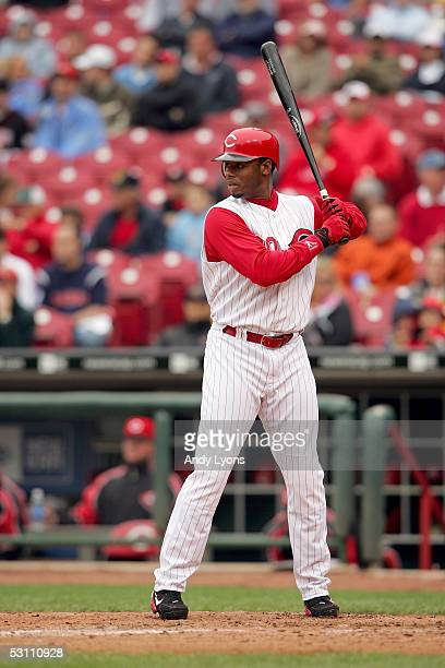 Ken Griffey Jr. #30 of the Cincinnati Reds bats against the Pittsburgh Pirates during their game on April 21, 2005 at Great American Ballpark in...