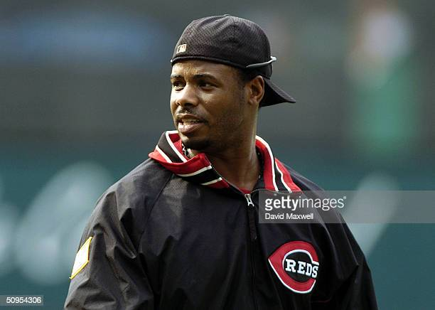 Ken Griffey Jr #30 of the Cincinnati Reds before the start of the game against the Cleveland Indians on June 12 2004 at Jacobs Field in Cleveland Ohio