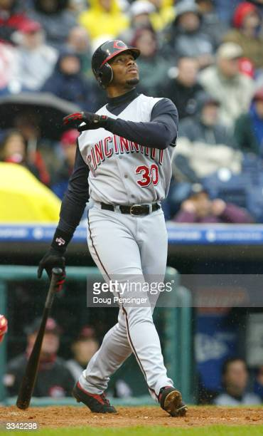 Ken Griffey Jr. #30 of the Cincinnati Reds flies out against the Philadelphia Phillies during MLB action at the inaugural game at Citizens Bank Park...
