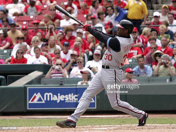 Ken Griffey Jr #30 of the Cincinnati Reds hits his 500th career home run in the sixth inning against Marris Morris of the St Louis Cardinals on June...