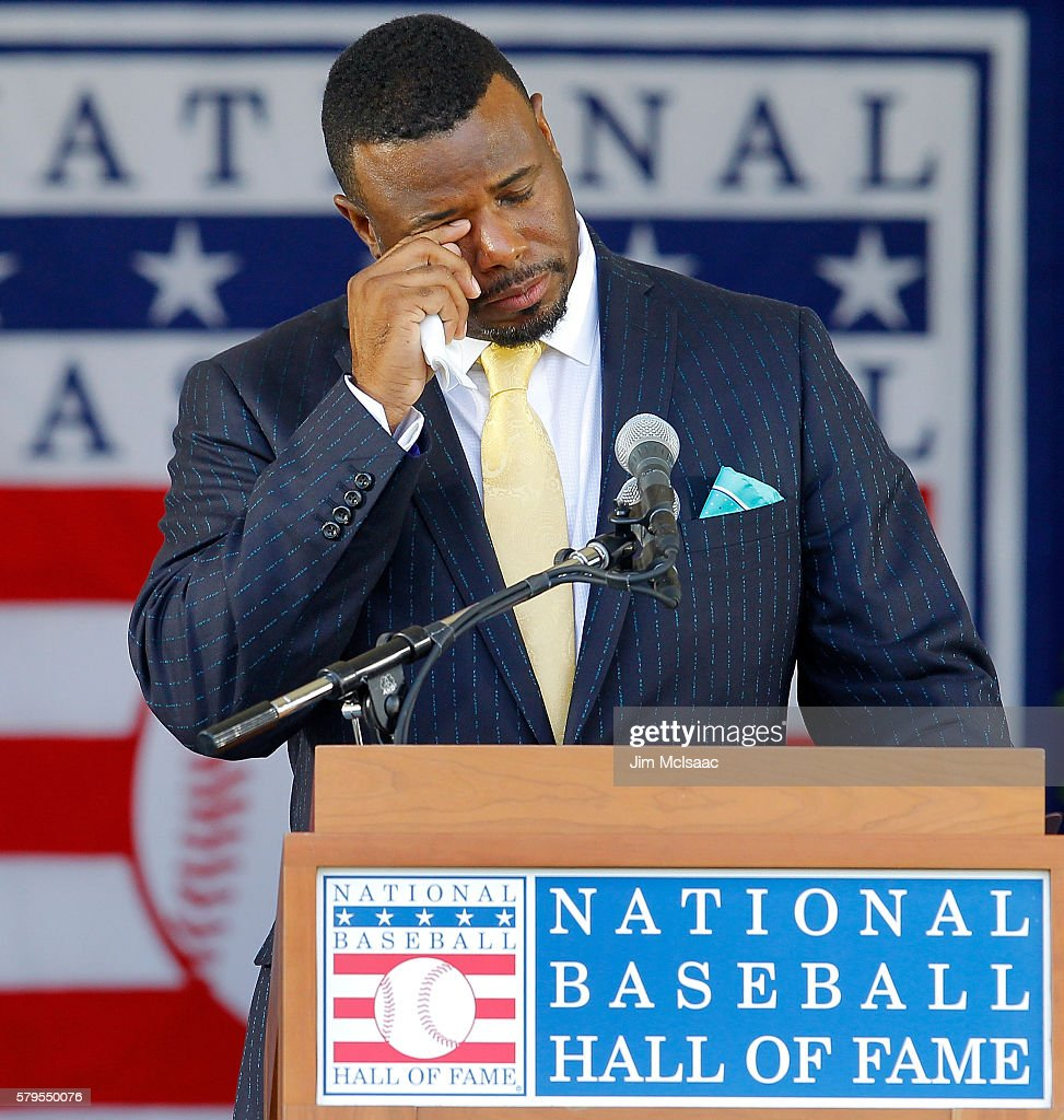 Ken Griffey Jr. fights back tears as he speaks at Clark Sports Center during the Baseball Hall of Fame induction ceremony on July 24, 2016 in Cooperstown, New York.