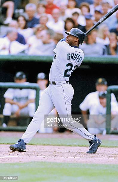 Ken Griffey Jr of the American League bats during the MLB AllStar Game at Coors Field on July 7 1998 in Denver Colorado The American League defeated...