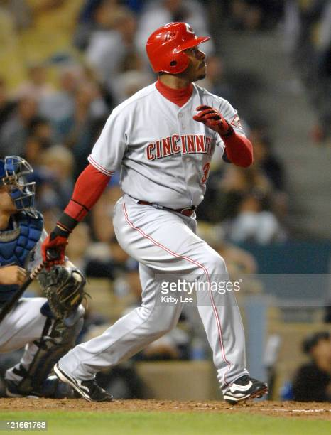 Ken Griffey Jr of the Cincinnati Reds bats during 20 loss to the Los Angeles Dodgers in Major League Baseball game at Dodger Stadium in Los Angeles...