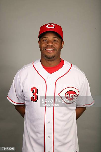 Ken Griffey Jr of the Cincinnati Reds poses during photo day at Ed Smith Stadium on February 23 2007 in Sarasota Florida