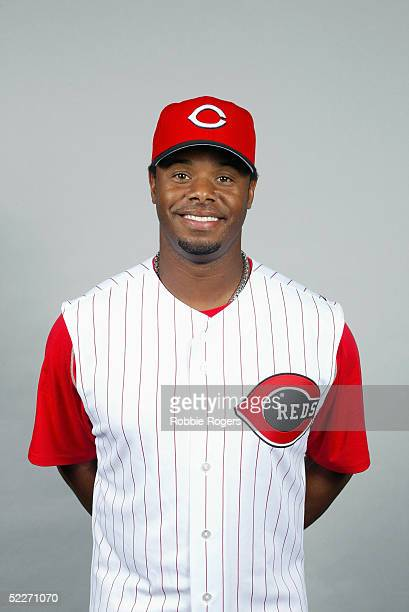 Ken Griffey Jr of the Cincinnati Reds poses for a portrait during photo day at Ed Smith Stadium on February 24 2005 in Sarasota Florida