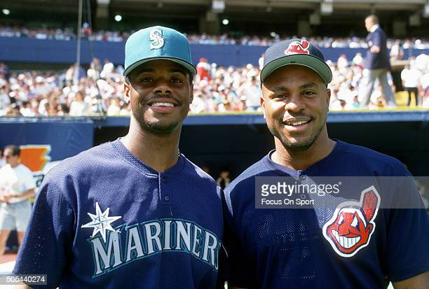 Ken Griffey Jr of the Seattle Mariners and Albert Belle if the Cleveland Indians poses together for this portrait prior to the start of the 1994...