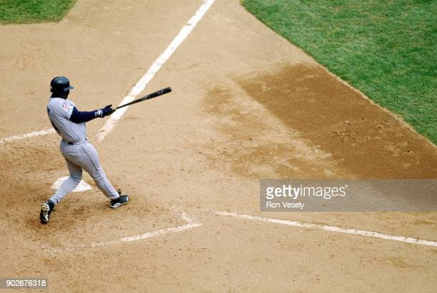 Ken Griffey Jr of the Seattle Mariners bats during an MLB game against the Detroit Tigers at Tiger Stadium in Detroit Michigan during the 1988 season