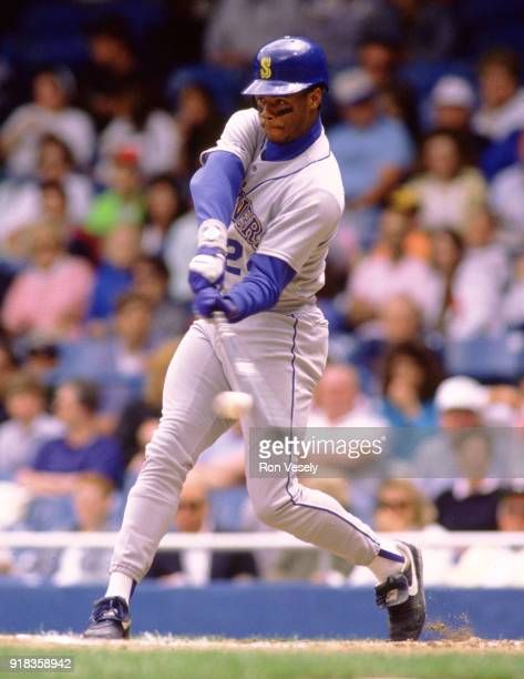 Ken Griffey Jr of the Seattle Mariners bats during an MLB game against the Detroit Tigers at Tiger Stadium in Detroit Michigan during the 1992 season