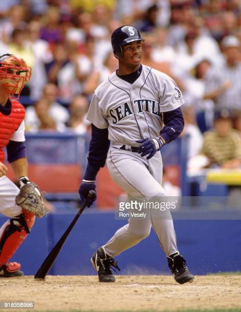 Ken Griffey Jr of the Seattle Mariners bats during an MLB game against the Cleveland Indians at Municipal Stadium in Cleveland Ohio during the 1993...