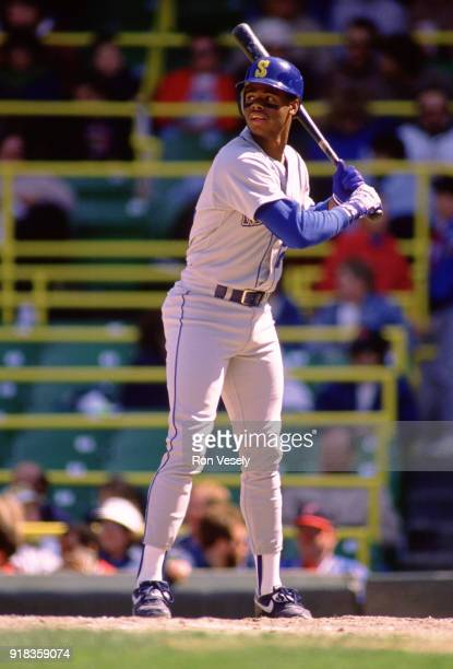 Ken Griffey Jr of the Seattle Mariners bats during an MLB game against the Chicago White Sox at Comiskey Park in Chicago Illinois during the 1989...