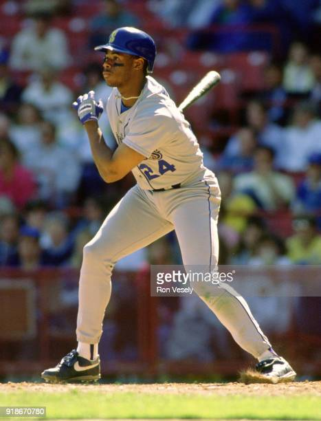 Ken Griffey Jr of the Seattle Mariners bats during an MLB game against the Milwaukee Brewers at County Stadium in Milwaukee Wisconsin during the 1990...