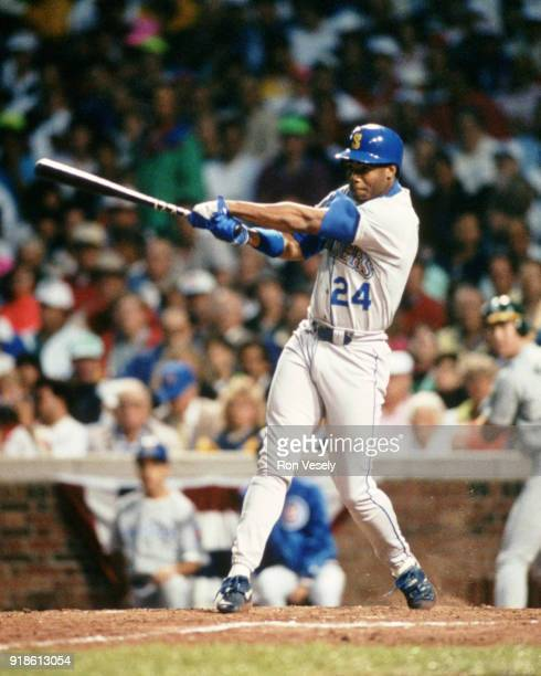 Ken Griffey Jr of the Seattle Mariners bats during the 1990 AllStar game held at Wrigley Field in Chicago Illinois on July 10 1990