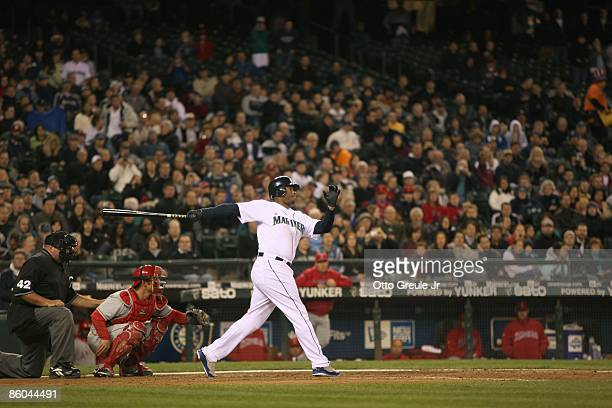 Ken Griffey Jr of the Seattle Mariners during the game against the Los Angeles Angels of Anaheim on April 15 2009 at Safeco Field in Seattle...