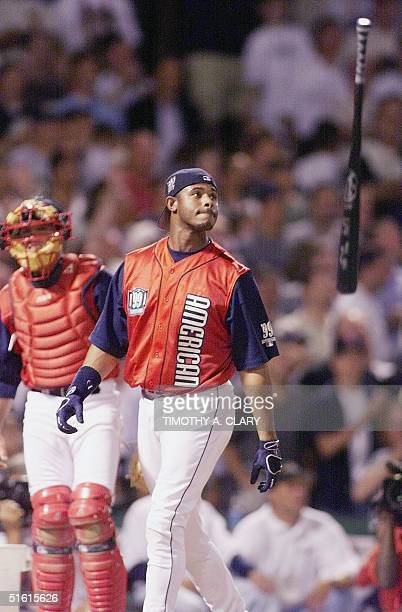Ken Griffey Jr of the Seattle Mariners flips his bat in the air after winning the HomeRun derby during the 70th AllStar Game Weekend at Fenway Park...