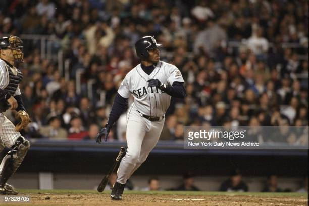 Ken Griffey Jr of the Seattle Mariners heads for first in game against the New York Yankees