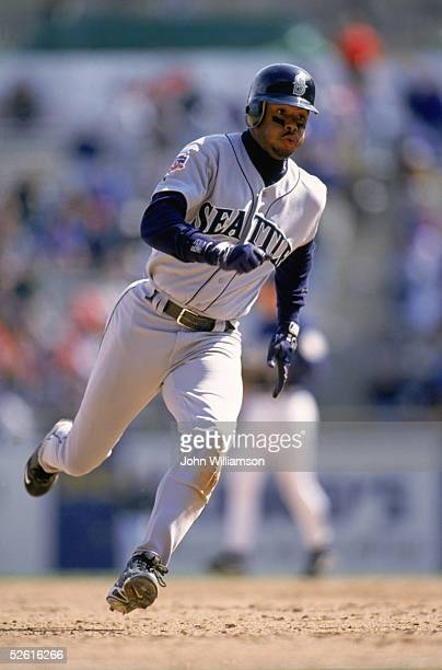 Ken Griffey Jr of the Seattle Mariners runs during a 1997 season game Ken Griffey Jr played for the Seattle Mariners from 19891999