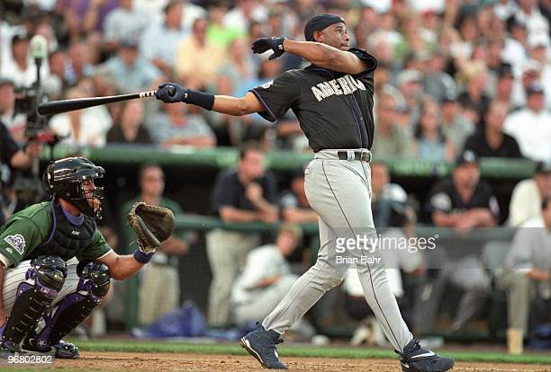 Ken Griffey Jr participates in the Home Run Derby prior to the 69th MLB AllStar Game at Coors Field on July 6 1998 in Denver Colorado