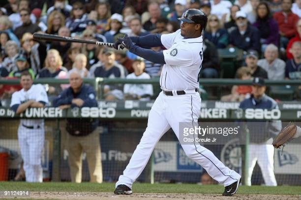 Ken Griffey Jr#24 of the Seattle Mariners swings at the pitch during the game against the New York Yankees on September 20 2009 at Safeco Field in...